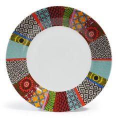 Assiette plate en porcelaine multicolore D 27 cm JANEIRO