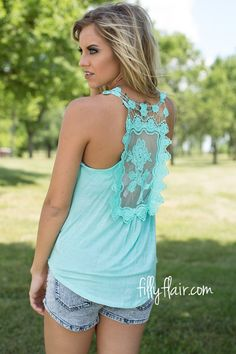 Check Back Later Lace Tank  --- wear with basic tee under