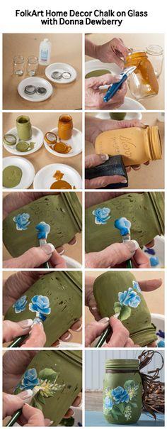 Donna Dewberry using FolkArt Home Decor Chalk on a Mason Jar Painting Blue Roses on the Jars. Pot Mason, Mason Jar Crafts, Mason Jars, Tole Decorative Paintings, Tole Painting, Donna Dewberry Painting, Decoupage, Painted Jars, One Stroke Painting