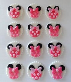 12 Fondant Cupcake Toppers  Minnie Mouse Inspired by TopCakeDecors, $17.95