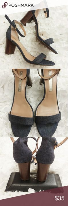 """Audrey Brooke denim ankle heels Brand new, only worn inside to try them on. Size 8. 3"""" heel. Audrey Brooke Shoes"""