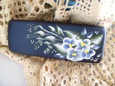 Hand Painted Flower Plant Sunflower Greenery Glasses Case Eyeglasses Clam Shell Holder Storage Box