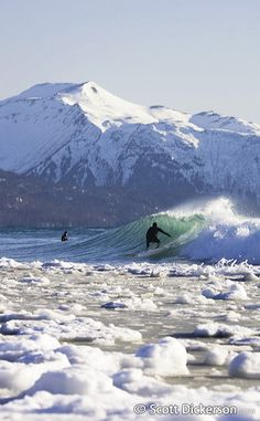 Surfer on a cold winter wave with ice in the water and on the beach, snow covered mountains, Homer Alaska. by btzste, via Flickr