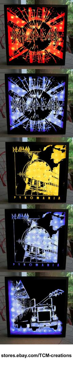 Def Leppard Shadow Boxes with LED lighting.  High N Dry, On Through The Night, Pyromania, Hysteria, Adrenalize, Slang, Euphoria, X, Yeah!, Songs From The Sparkle Lounge, Joe Elliott, Rick Savage, Rick Allen, Vivian Campbell, Phil Collen, Steve Clark.