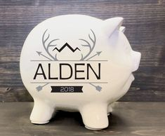 Baby Gift Personalized Piggy Bank, Forrst Animal Woodland Nursery, Boys Piggy Bank with Name, Hunting Baby Nursery by LEVinyl on Etsy Personalized Piggy Bank, Personalized Baby Blankets, Personalized Baby Gifts, Plaid Nursery, Nursery Decor, Baby Piggy Banks, Hunting Baby, Baby Arrival, Woodland Nursery