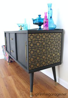 Midcentury Makeover with a Fun Stenciled Surprise.  girlinthegarage.net