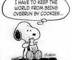 Snoopy - good reason to eat cookies Snoopy Comics, Snoopy Cartoon, Peanuts Cartoon, Peanuts Snoopy, Peanuts Comics, Snoopy Pictures, Funny Pictures, Peanuts Characters, Cartoon Characters