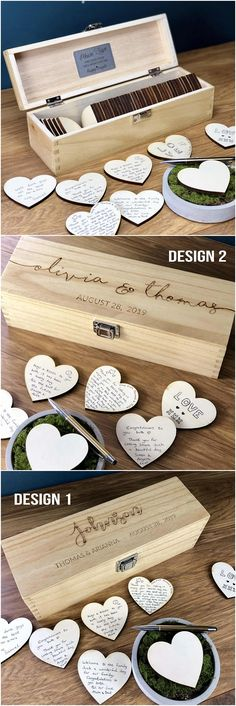 Wedding Guest Book - GuestBook Alternatives - Guestbook Sign - Personalised Custom Guest Book - Rustic Wedding Box - Hearts - Unique Ideas #weddings #countryweddings #weddingideas