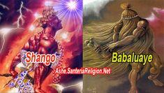 """CAMINOS DE SHANGÓy BABALUAYE   Los caminos de Shango se refieren más bien a los títulos que recibiera cuando fue rey. Es decir, su realeza, su arte de legislar, de hacer la guerra, su fuerza y su relación con el fuego y el rayo, entre otros aspectos.  COMPARTE PARA VER EL CONTENIDO A CONT... Los Orishas """"Shango y Babaluaye"""""""
