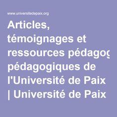 Articles, témoignages et ressources pédagogiques de l'Université de Paix | Université de Paix asbl