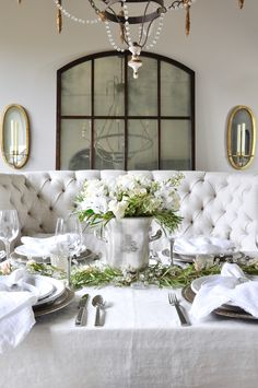 Today I'm sharing a beautiful table designed for a Valentine's Day Dinner Party. I used white flowers, dinnerware, and linen napkins