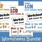 GCF, LCM and LCD Worksheets!  - A total of 300 worksheets with answer keys.  =============================================================== Relate...