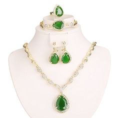 Women Gold Plated Green Cubic Zirconia Jewelry Set Necklace Earring Bracelet Ring  http://stylexotic.com/women-gold-plated-green-cubic-zirconia-jewelry-set-necklace-earring-bracelet-ring/