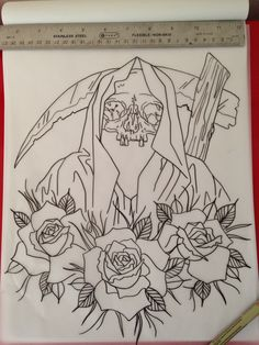 Neo traditional reaper outline