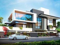 Ultra modern Bungalow exterior day rendering and elevation design by Power Modern Bungalow Exterior, Modern Exterior House Designs, Modern House Facades, Modern Farmhouse Exterior, Dream House Exterior, Modern House Design, Latest House Designs, Architecture Building Design, Home Building Design
