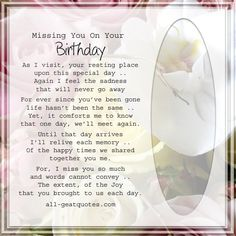 Missing You On Your Birthday - As I visit your resting place   Birthday In Heaven Cards
