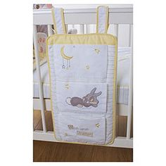 This gorgeous Disney Thumper cot tidy is the perfect practical accessory for your baby's cot. It stores all their spare bedding, bedclothes and soft bedtime toys ready for use. The handy coat hanger design can be hung from the end of the cot, on the wardrobe door handle, or from a hanging rail in the wardrobe.