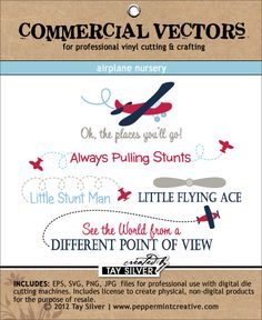 COMMERCIAL Vectors - Airplane Nursery   EPS, SVG, PNG, and JPG file format. A commercial license for NON-DIGITAL small business use is included. Finished product must be a physical 3-dimensional product for limited distribution like vinyl wall art.  #peppermintcreativewishlist