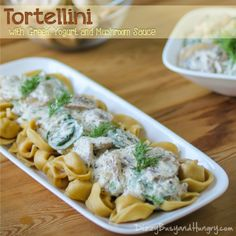 Tortellini with Greek Yogurt and Mushroom Sauce - Tangy, flavorful sauce with fresh mushrooms, delicious over tortellini or other pasta or your favorite steamed veggies!