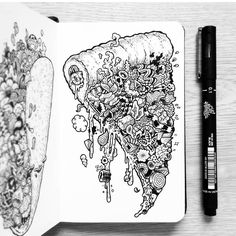 #Pizza #Art #Doodle #VisualArts Sketch, Illustration, Drawing, PizzaDoodle - Photo by @blackworkillustrations - Follow #extremegentleman for more pics like this!