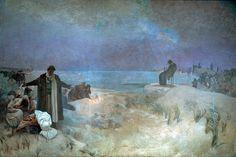 """Alfons Mucha """"L'Epopée Slave""""  N°16 : Les derniers jours de Jan Amos Comenius à Naarden (1918).  Une lueur d'espoir. Dimensions : 620 * 405 cm. Tempera sur toile."""