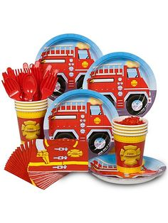 Fire Engine Party Standard Kit -Fireman Party Supplies