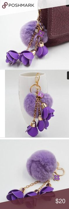Purple fur ball and flowers purse charm This incredibly soft, playful purple fur keychain is versatile as it can be worn on a keyring, a purse, or anywhere else you like. Accessories Key & Card Holders