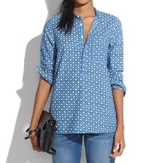 Chambray Floralstamp Popover - CHAMBRAY & DENIM - Women's Madewell_Shop_By_Category - Madewell