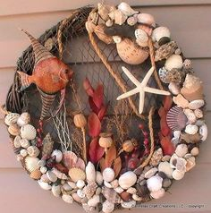 Your marketplace to buy and sell handmade items.This angel fish beach wreath with braid in background features orange angel fish, starfish and a good selection of shells, dried flowers and roping accents. Seashell Wreath, Seashell Art, Seashell Crafts, Beach Crafts, Diy And Crafts, Arts And Crafts, Coastal Wreath, Nautical Wreath, Driftwood Wreath