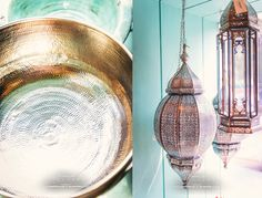 Beautiful copper bowl and pierced metal lamp at the Good Earth Store in New Delhi, India