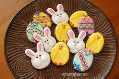 One Dozen Easter Sugar Cookies - Bunny - Eggs - Chicks Decorated Sugar Cookie - 12 Rolled Sugar Cookies