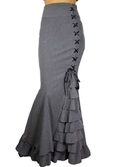 "CS ""Rainy Night in London"" Victorian Gothic Steampunk Ruffle Vintage Style Skirt (XXL, Gray)"