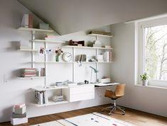 Home Office Bookshelves Smart Homes Video Architecture Office Bookshelves, Smart Home Control, Shelf System, Home Office Storage, Home Camera, Wood Design, Storage Shelves, Living Area, Furniture Design