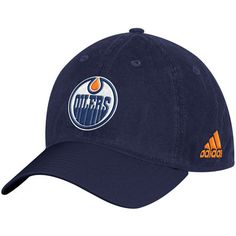 Men s adidas Blue Edmonton Oilers Solid Slouch Fitted Hat 592df88b9030