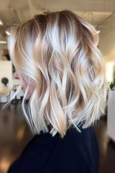 Pretty lob with soft beachy messy waves curls