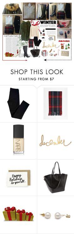 """Fashion journal: Parka, knit sweater & tartan scarf with high heel boots"" by aleksa ❤ liked on Polyvore featuring Oris, J Brand, Igi&Co, NARS Cosmetics, Heidi Swapp, Gap and Bobbi Brown Cosmetics"