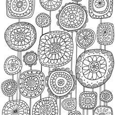 Gorgeous hand-drawn loveliness by Lisa Congdon in her colouring book Just Add Colour Botanicals Mandala Doodle, Floral Doodle, Doodles Zentangles, Coloring Book Art, Adult Coloring, Coloring Pages, Flower Doodles, Doodle Flowers, Doodle Pages