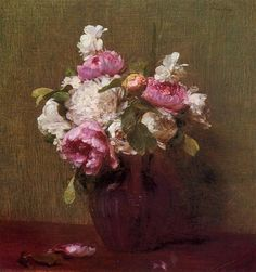 White Peonies and Roses, Narcissus, 1879 by Henri Fantin-Latour. Realism. flower painting. Private Collection