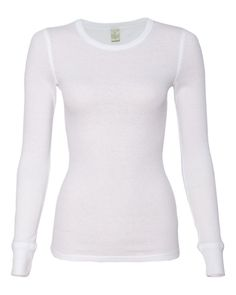 Alternative White Ladies Long Sleeve Thermal - 5106 FREE SHIPPING