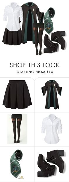 """Slytherin Girl Uniform"" by music-gilr69 ❤ liked on Polyvore featuring Cameo Rose, Boohoo, Steffen Schraut, Elope and Keds"