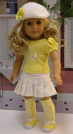 Suzy Sunshine - Spring outfit for American Girl doll with  converse