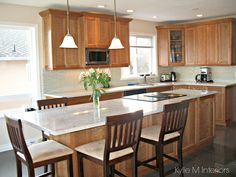 Kitchen Backsplash Cherry Cabinets White Counter natural cherry kitchen cabinets with white granite - not sure if i