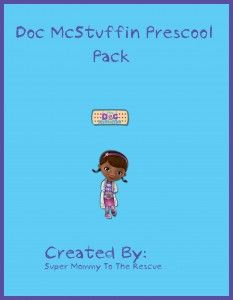 Free Doc McStuffins Preschool Pack. Prewriting, Number Activities, Color Activities and more.