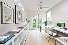 contemporary home office by Kimberly Demmy Design; Shelving- DWR Sapporo Collection; Desk-desk is from Room & Board Portica Collection  http://www.houzz.com/photos/2235933/Modern-Home---Kimberly-Demmy-Design-contemporary-home-office-los-angeles