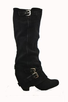 Black Suede Slouch Boot