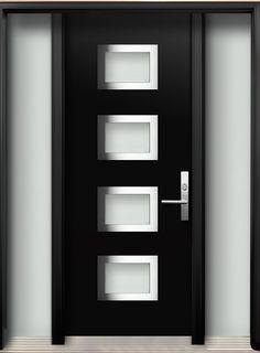Modern Wood Door with 4 Panel Stainless Steel