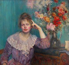Louise Catherine Breslau (Swiss, 1856-1927) - Young woman and chrysanthemums (Portrait of Wilhelmina Carlsson-Bredberg), 1890