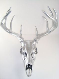 Deer Antler Chrome Skull Nature Large Art Sculpture by MayaJadeCreations