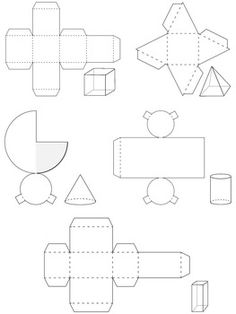 Paper Templates ~ Worksheets and Images by Erin Thomson's Primary Printables Paper Folding Crafts, Origami Paper Art, 3d Paper, Cube Template, Paper Templates, 3d Geometric Shapes, 2d And 3d Shapes, Printable Shapes, Templates Printable Free