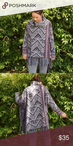 Free People Long Sleeve Poncho Patterned long sleeve poncho from Free People. Cowl neck. Colors: gray, blue, orange, white. Excellent condition. 30% wool. 22% acrylic. 17% polyester. 9% alpaca. 7% mohair. Free People Sweaters Shrugs & Ponchos